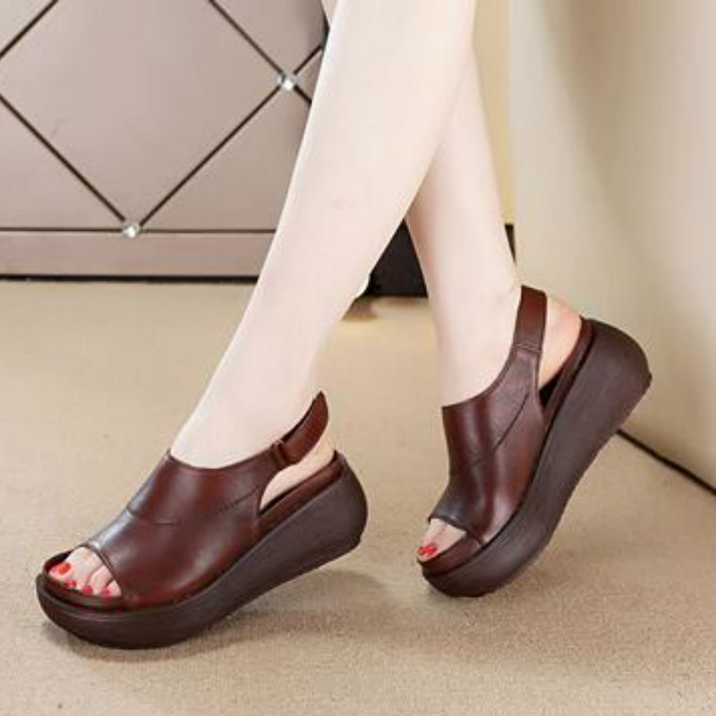 Tyawkiho Genuine Leather Women Sandals Coffee 6 CM High Heels Sandals Wedge Summer Shoes 2018 Fish Mouth Retro Shoes Handmade