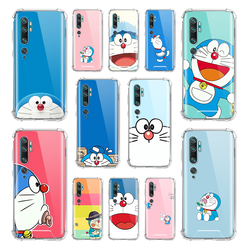 Doraemon Case For Xiaomi Mi Note 10 9 CC9 9T Pro 5G CC9E A2 Lite X2 Airbag Anti Fall TPU Phone Coque
