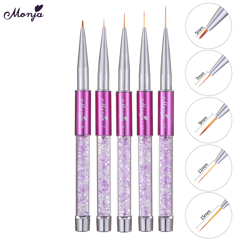 Monja 5/7/9/11/15mm Nail Art Acrylic Line Painting Brush Crystal Handle Thin Liner Grid Drawing Pen Manicure Tool