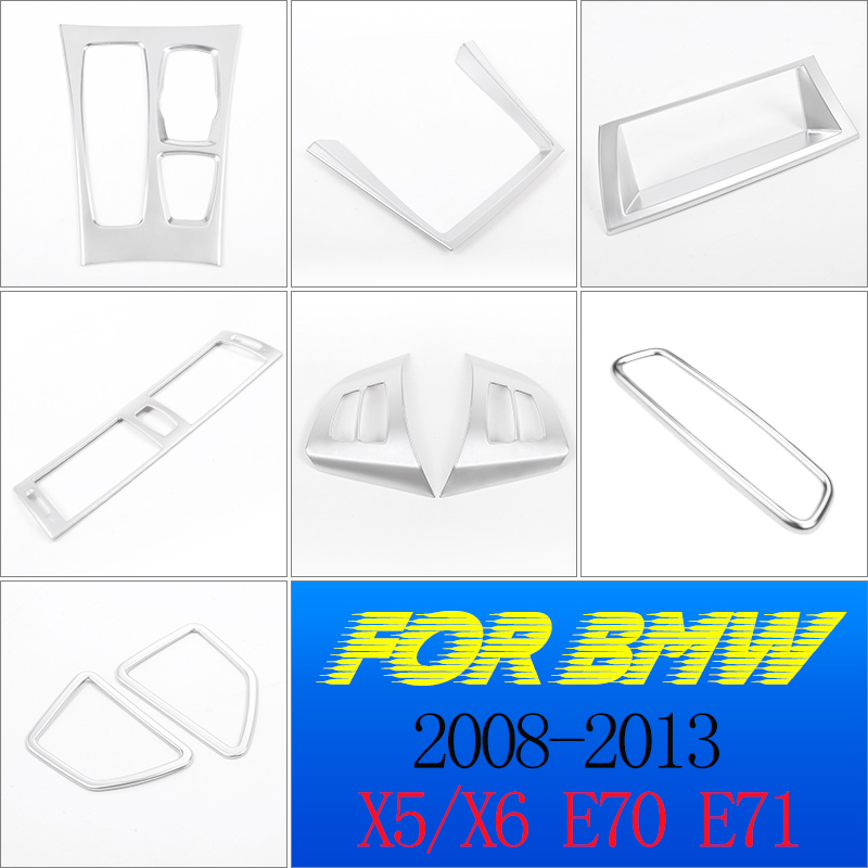 Car Accessories ABS Matte Silver Car <font><b>Interior</b></font> Decoration Strip Frame Cover <font><b>Trim</b></font> Sticker For <font><b>BMW</b></font> X5 X6 <font><b>E70</b></font> E71 2008-2013 image