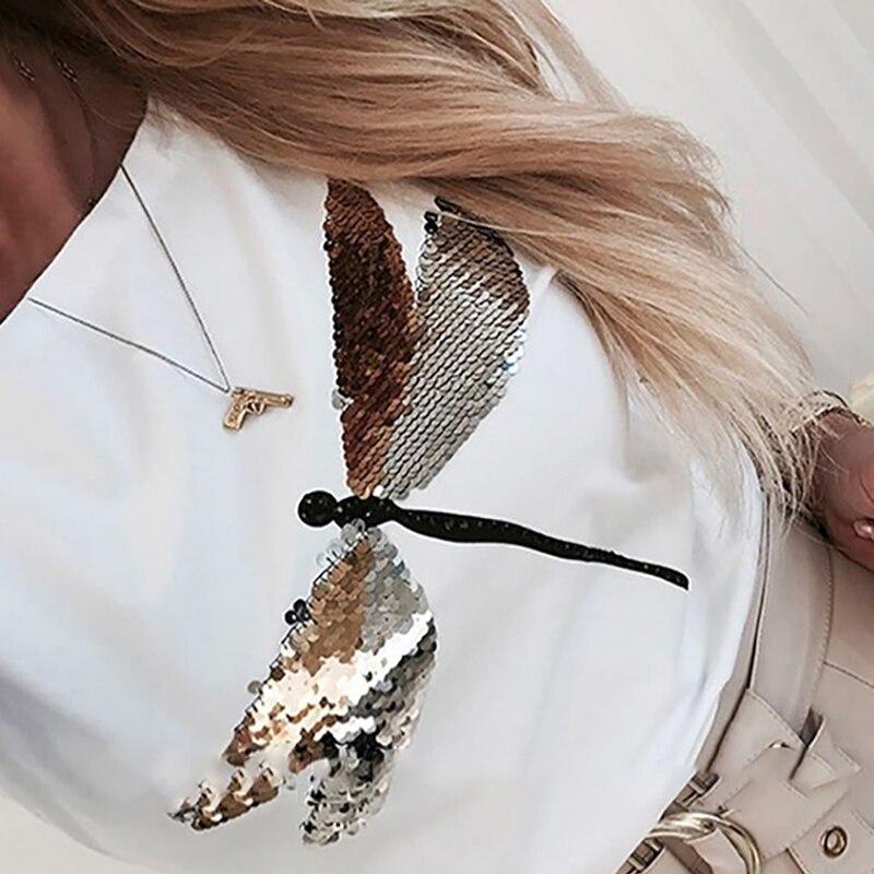 Женская футболка с принтом бабочки, белая футболка с длинным рукавом, женская футболка с круглым вырезом Harajuku, женская одежда 2020 SJ5473R