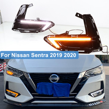 цена на For Nissan Sentra 2019 2020 Led DRL Daytime Running Lights with Yellow Turn Signal Relay Fog Lamp Cover 12V Car Styling