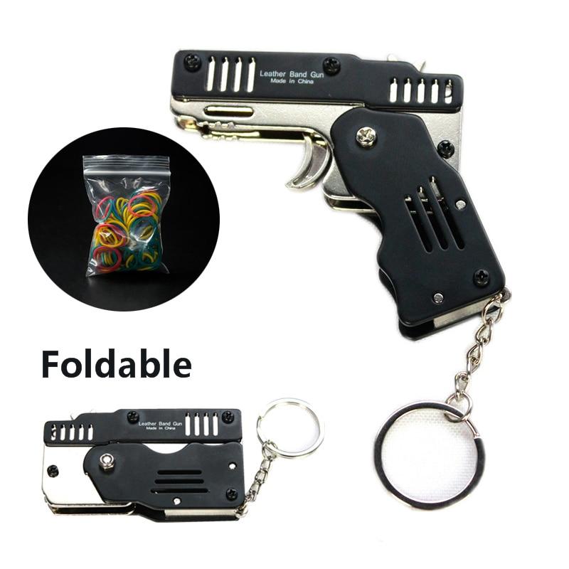 Mini Folding Rvs Rubber Band Launcher Gun Hand Pistol Guns Schieten Speelgoed Geschenken Jongens Outdoor Plezier Sport Voor Kinderen
