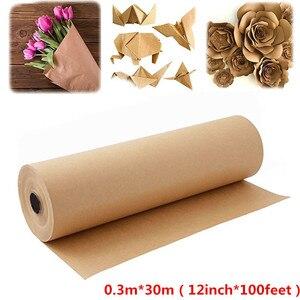 Rollo de papel Kraft marrón Natural de 0,3 m * 30m para fiesta de cumpleaños, paquete de regalo hecho a mano, embalaje, arte, decoración, póster