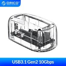 ORICO 2.5 3.5'' USB3.1 Gen2 HDD Docking Station Type-C 10Gbps Hard Drive Enclosure External HDD Case Transparent Hard Disk Case