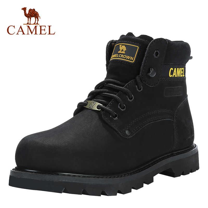 Camel Sepatu Pria Kualitas Perkakas Sepatu Kulit Asli Tentara Pria Taktis Militer Pasang Kaos Karet Keren Sepatu Kerja Pria Ukuran 41-46