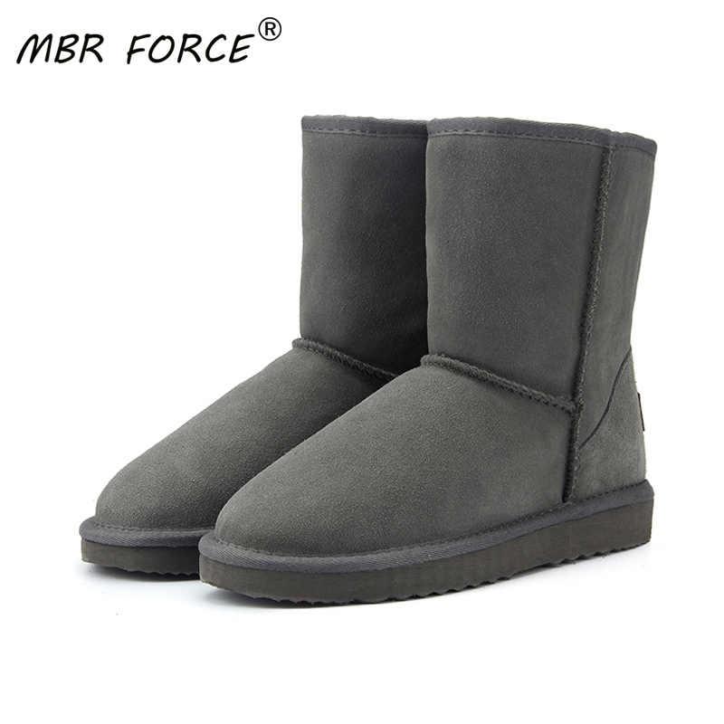 MBR LỰC Da Bò Da Chính Hãng Chất lượng cao Úc Cổ Điển 100% Len Ủng Giày Bốt Nữ mùa đông Ấm Áp cho nữ