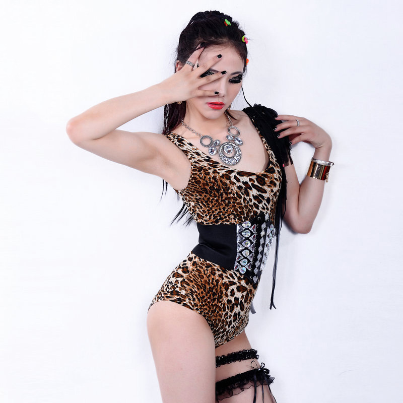 Stage Costume Sexy Leopard Print Jumpsuit Nightclub Dj Ds Sleeveless Bodysuit Birthday Outfits For Women Pole Rave Wear DT1080