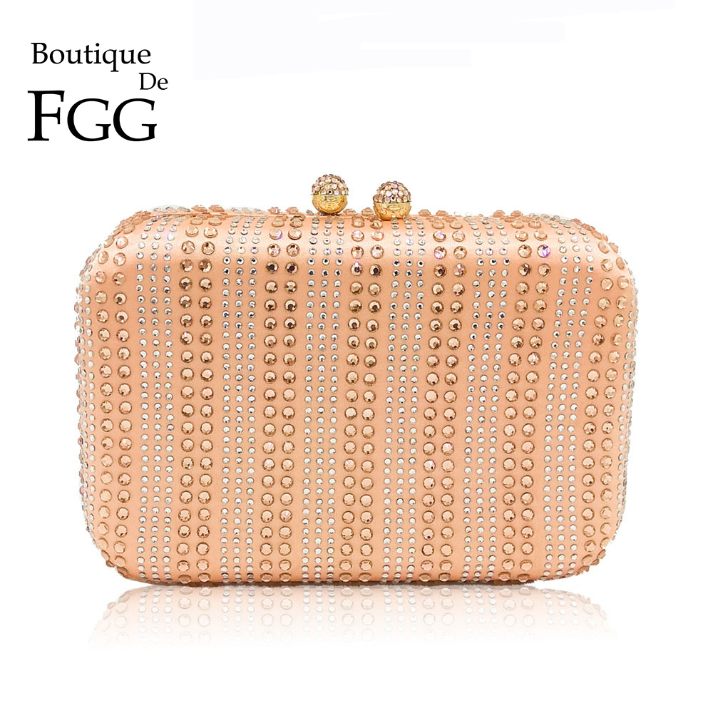 Boutique De FGG Bling Women Champagne Evening Bags and Clutches Party Dinner Crystal Purses and Handbags Bridal Rhinestone Bags