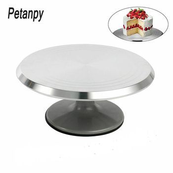 New Baking tool 12 inch alloy mounted cream cake Turntable Rotating table stand base turn around Decorating silver metal