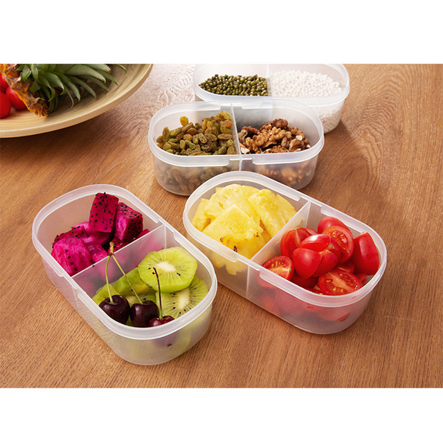 Double Grid Food Container with Lid