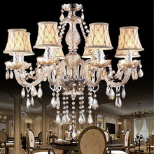 European Luxury Candle Crystal Chandelier Living Room Hotel Bedroom Retro LED Glass E14