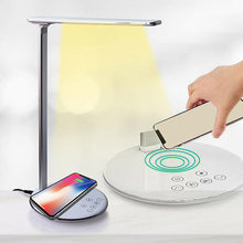 US/EU Plug USB Rechargeable LED Meja Lampu Meja Intensitas Disesuaikan Qi Wireless Charger Telepon Membaca Belajar Light 2019 terbaru(China)