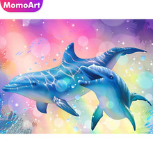 MomoArt Diamond Painting Animal Embroidery Dolphi Full Square Drill Mosaic Picture Of Rhinestone Cross Stitch Home Decoration