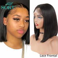 Pelucas Bob corto de encaje sintético para Mujeres Afro negro SOKU, Color Natural soplado, pieza media de 10-16 pulgadas, corte recto, Pixie