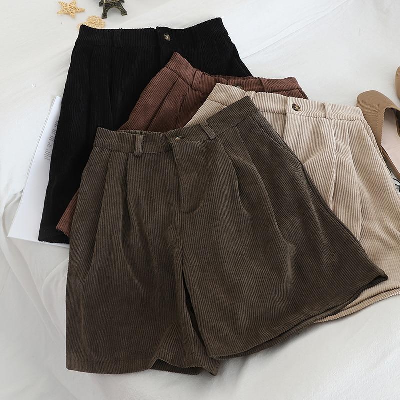 Vintage Corduroy Short Women Casual Autumn High Waist Wide Leg Short Female Black Apricot Bottoms