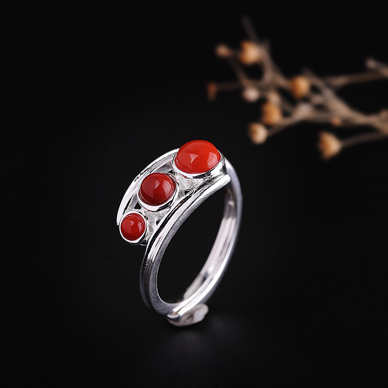 Direct Sales Personal Quality Silver Fashion Sterling Silver Hand Ornament S925 Pure Silver Jewelry Women's Open South Red Ring