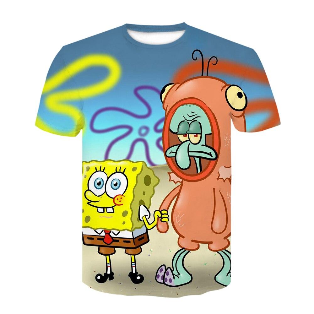 2021 Summer New and Interesting Yellow Bob Boy Girl Sponge 3D Printing T-Shirt Unisex Anime Cartoon Short-Sleeved Sports Top