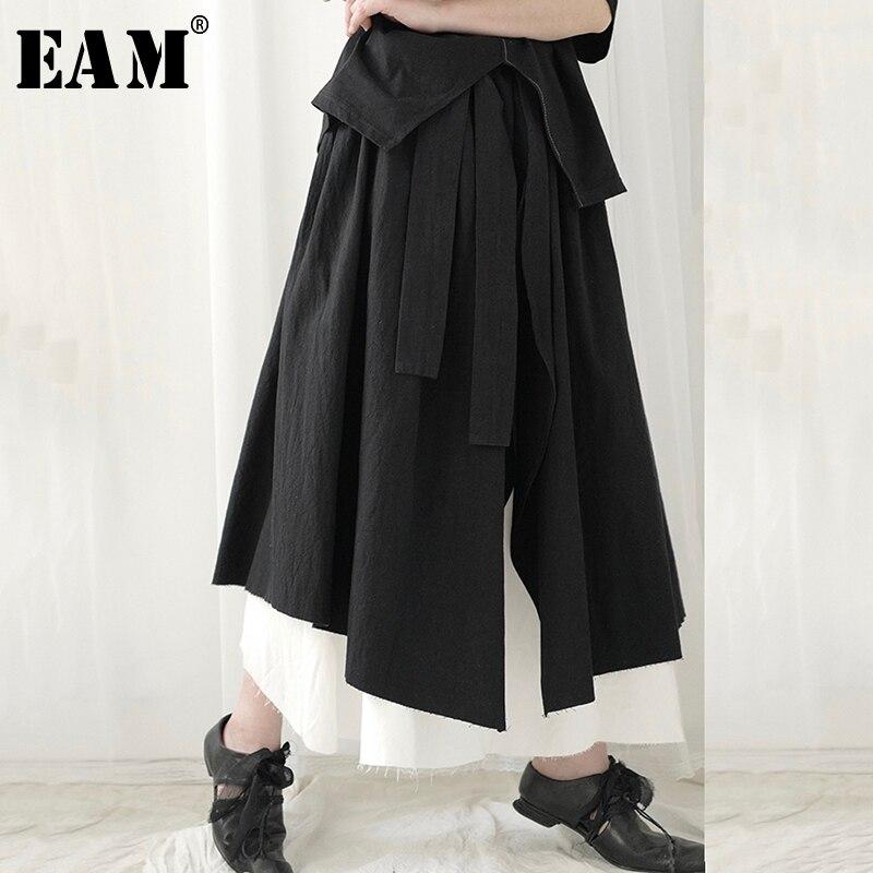[EAM] High Elastic Waist Black Double Layers Asymmetrical Half-body Skirt Women Fashion Tide New Spring Autumn 2020 1S744