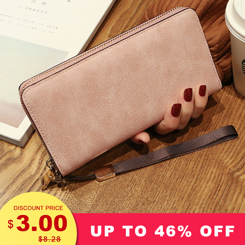 2019 Female Wallet Woman Long Wallet PU Leather Long Purse Famous Brand Designer Wallet Women Quality Female Wristband Purse