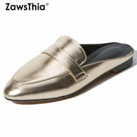 ZawsThia 2020 summer silver gold casual woman flats shoes ladies slip-on slides women outdoor slippers mules big size 33-43 42