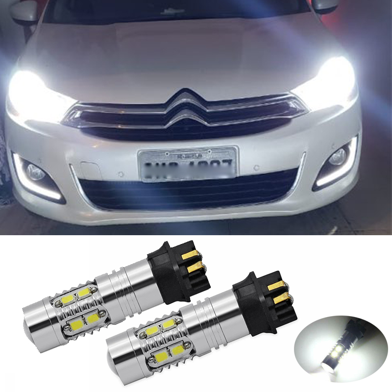 2Pcs <font><b>PW24W</b></font> PWY24W Canbus Error Free LED Car Light Bulbs Front Turn Signal Lights For Citroen C4 2013-up Daytime Running Lamps image