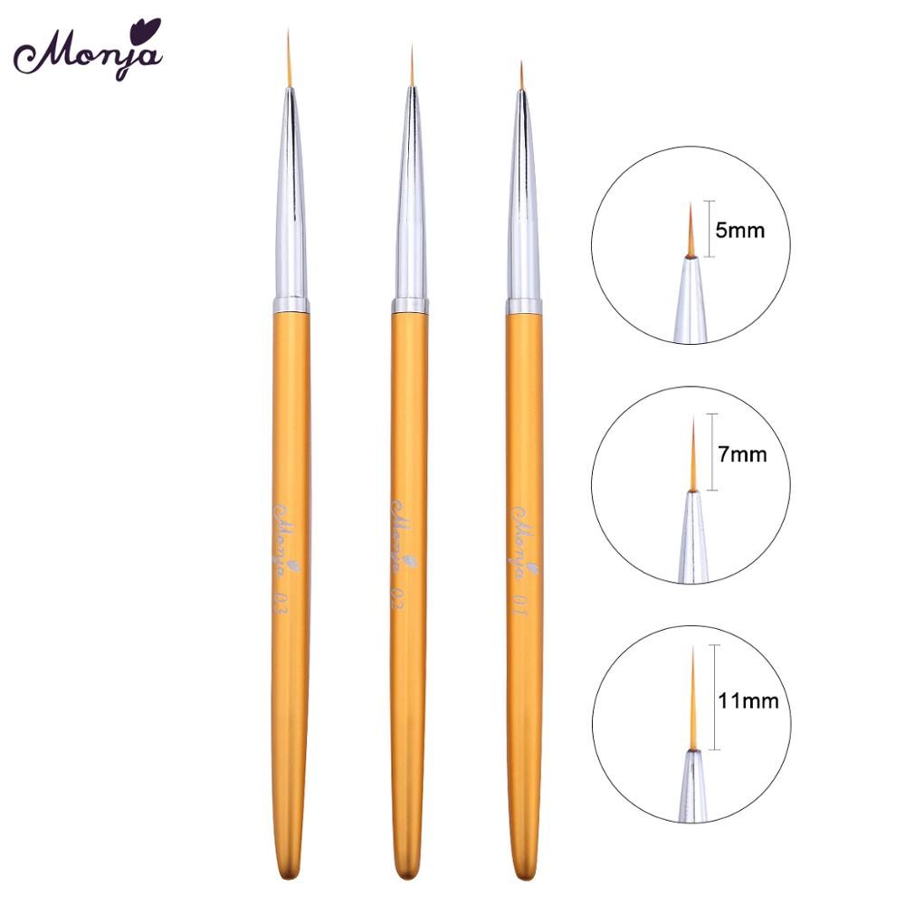 Monja 3pcs/set 5mm 7mm 11mm Nail Art Metal French Flower Design Stripe Lines Liner Drawing Brush Pen Manicure Tool