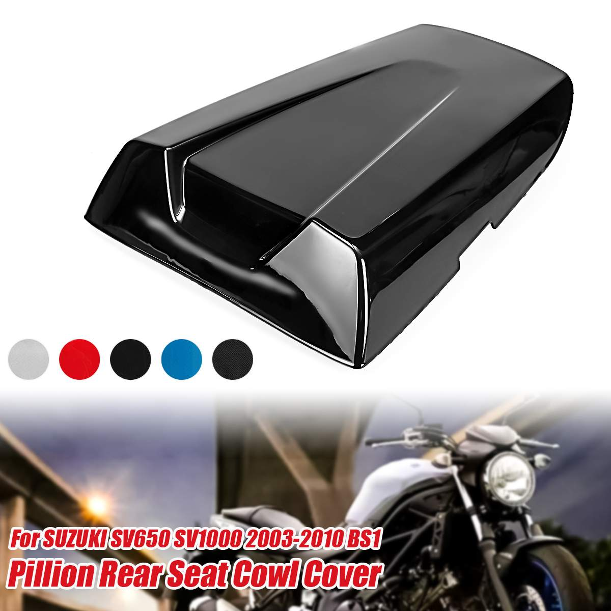 1x Motorcycle Pit Dirt Bike Rear Passenger Seat Cover Guard <font><b>Fairing</b></font> Cowl Cushion For <font><b>Suzuki</b></font> SV650 <font><b>SV1000</b></font> 2003-2010 M511-S010-Set image