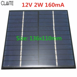 Image 2 - CLAITE 12V 2W 160mA Polycrystalline silicon Mini Solar Panel module Cell  For Charger DC Battery DIY 136x110mm Quality Wholesale