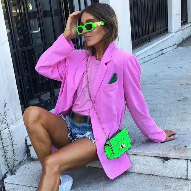 ZXQJ Women Cool Pink Blazer 2021 Summer Fashion Ladies Sexy Thin Cotton Jackets Elegant Female Chic Suits Casual Girls Cute Top 6