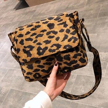 2020 leopard print Vintage Women small crossbody Bag corduroy Day High Quality mini bags Women Shoulder Bag Handbag Female