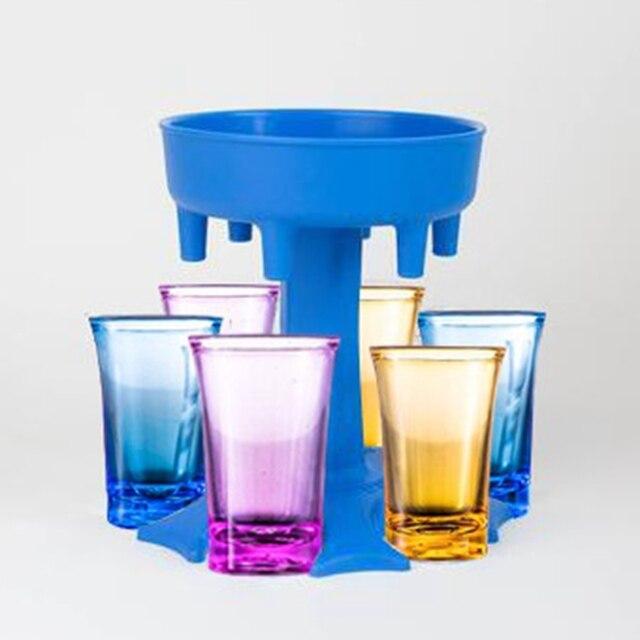 Dispensador para llenar l/íquidos Azul dispensador de chupitos Adecuado para Fiestas de reuni/ón de Amigos de la Familia Winwintom-2020 Dispensador y Soporte para 6 Vasos de chupito