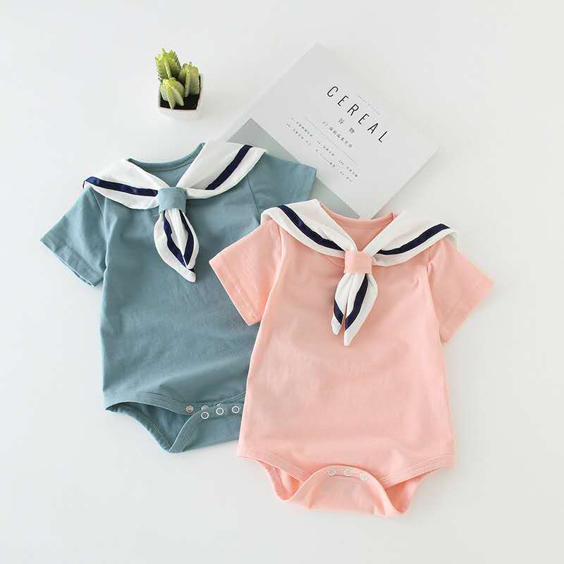 Infant Clothes Round Neck Short Sleeve Baby Climbing Suit Cotton Hooded Newborn Climbing Suit Summer Casual Cute Toddler Romper