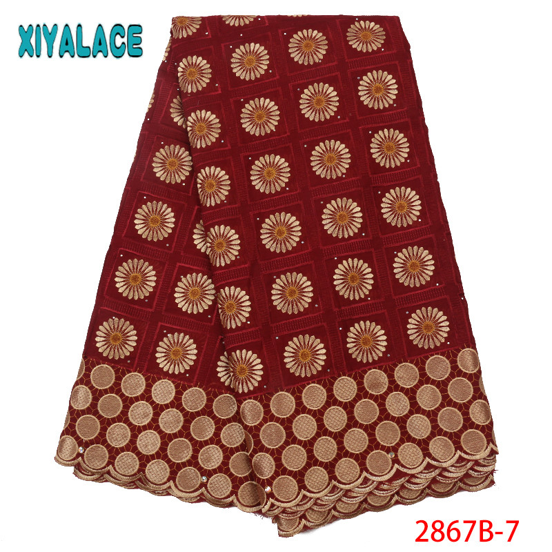 African Lace Fabric 2019 Latest Swiss Voile Lace Fabric Dry Cotton Lace Fabrics Nigerian Embroidery Lace With Stones KS2867B-7