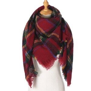 Image 5 - 2020 neue designer marke frauen kaschmir schal dreieck winter schals dame schals und wraps stricken decke neck striped foulard