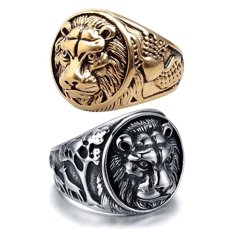 Ring For Men Finger Stainless Steel 316L Golden Lion Punk Rock Biker Viking