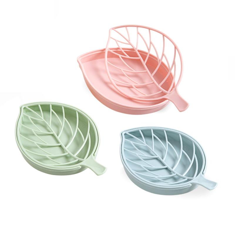 Leaf Shape Soap Holder Non Slip Soap Box Toilet Shower Tray Draining Rack Bathroom Gadgets Soap Dish Soap Tray Holder Hot Sale