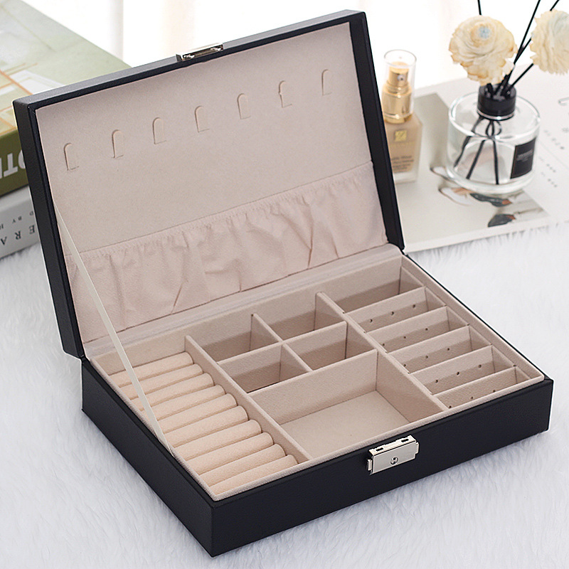 New Leather Jewelry Box Korean Version Of The Multi-layer Large-capacity Jewelry Storage Box Multi-function PU Jewel Case