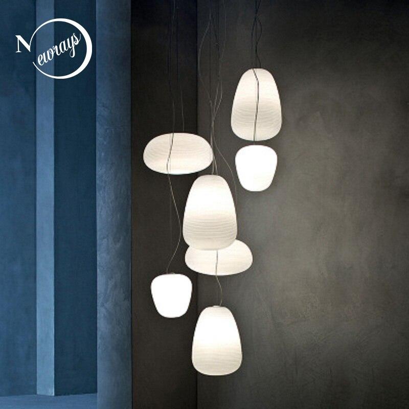 Modern minimalist milky white pendant lights glass single head lamp for living room dining bedroom bedside restaurant cafe bar Pendant Lights     - title=
