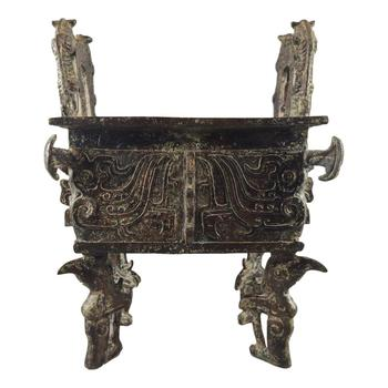 LaoJunLu Bronze Bird Leg Fang Ding Imitation antique bronze masterpiece collection of solitary Chinese traditional style jewelry