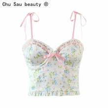 2021 new fashion summer sexy mesh stitching floral print camis short vest bottoming crop tops for women