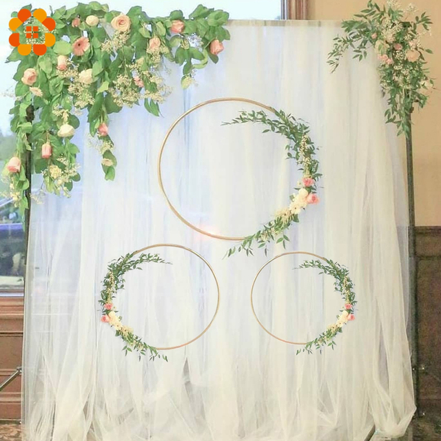 1 Set DIY 10-40cm Iron Metal Ring Wooden Crafts Garland Flowers for Eid Mubarak Ramadan Party Decoration Gift Wedding Home Decor 5