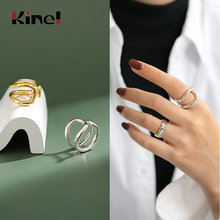 Kinel 10.8g 925 Sterling Silver Ring Fine Jewelry Bague Engagement Party 18K Gold Wedding Rings for Women Bijoux Femme kinel bague real pure 925 sterling silver vintage layered rings for woman jewelry wedding finger open ring bijoux femme