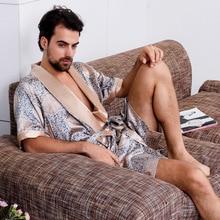 New Luxury Bathrobe Mens Print Plus Size Robe With Shorts 2 Pcs Silk Satin Pajamas Kimono Home Bath Gown Summer Male Nightgown