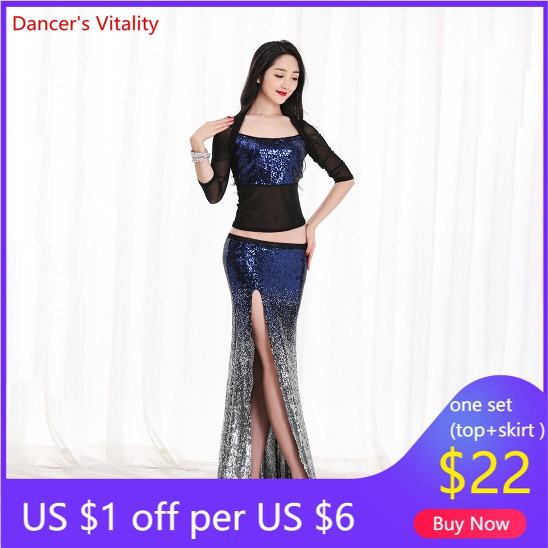 Women New Belly Dance Set  Oriental Dance Dance Competition Sequin   Costume Top+Fishtail  Skirt 2pcs Gypsy Skirt   Costume Set