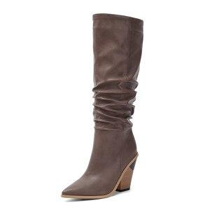 Image 3 - MORAZORA 2020 Hot marque genou bottes hautes femmes bout pointu épais talons hauts automne hiver bottes couleurs solides robe chaussures femme