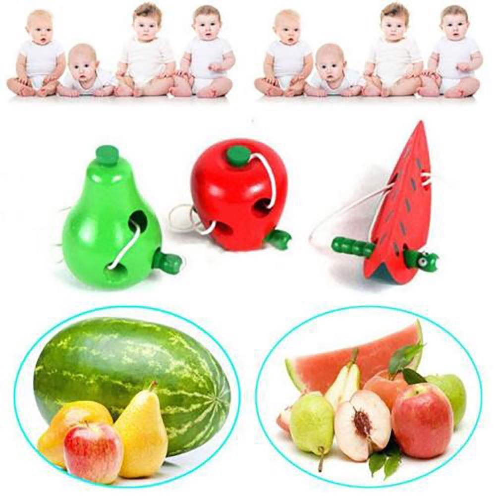 Lovely Wooden Apple Pear Watermelon Worm Eat Fruit Baby Kids Threading Toy