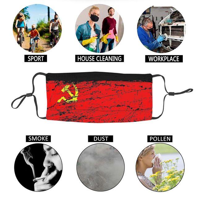 Маска для лица с флагом СССР, России, Коммунистическая социалистская противодымчатая Пылезащитная маска, респиратор для рта 6