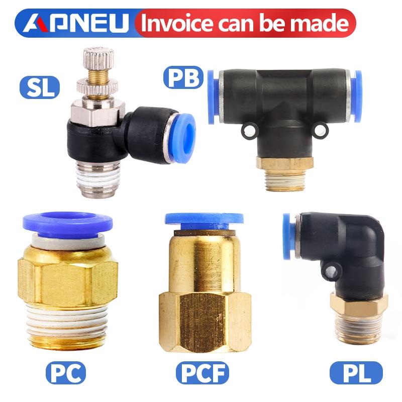 Фантастический пневматический ПК / PCF / PL / PLF пневматический разъем 4 мм-12 мм фитинга 4 мм-12 мм 1/8