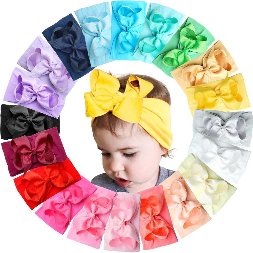 20 Цвета Детские нейлоновая завязанная в узел повязка на голову для девочек; Большой 4,5 дюймов заколки для волос головные обручи, для новорож...